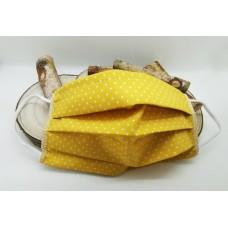 OBRAZNA PRALNA MASKA - ženska-rumena z belimi pikicami