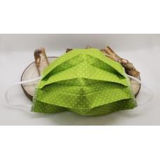 OBRAZNA PRALNA MASKA - ženska-zelena z belimi pikicami